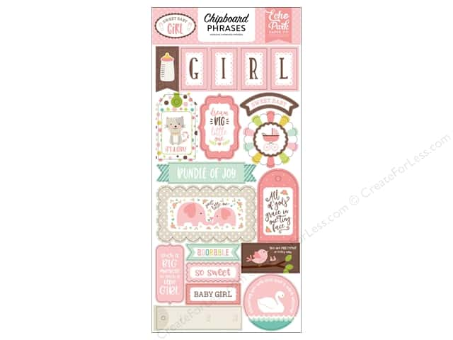Echo Park Sweet Baby Girl Chipboard 6 in. x 12 in. Phrases