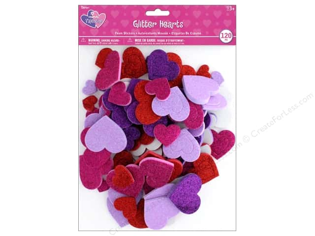 Darice Foamies Sticker Glitter Hearts 120 pc