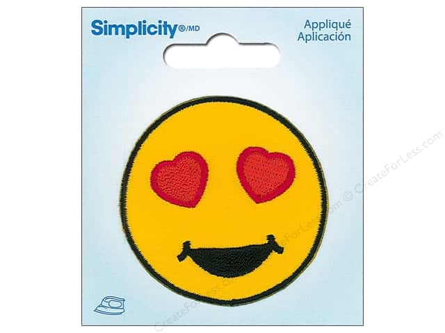 Simplicity Applique Iron On Heart Eyes Emoji