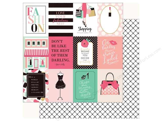 Echo Park Fashionista Paper 12 in. x 12 in.  Journal Card 3 in. x 4 in. (25 pieces)