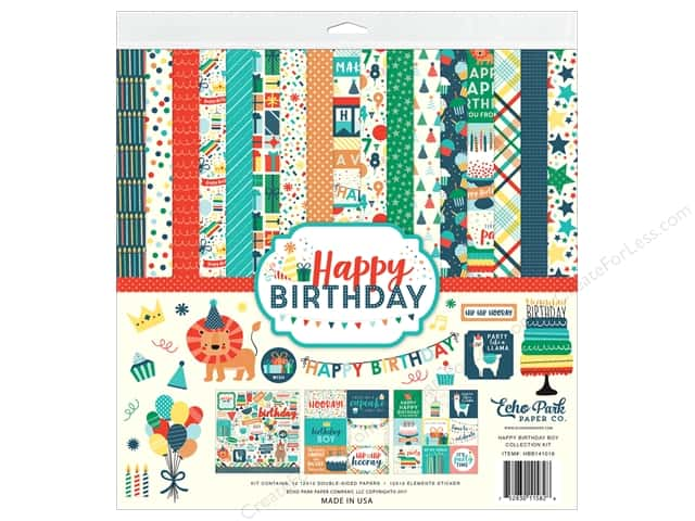 Echo Park Happy Birthday Boy Collection Kit 12 in. x 12 in.