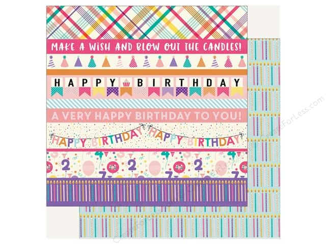 Echo Park Happy Birthday Girls Paper 12 in. x 12 in. Border Strips (25 pieces)