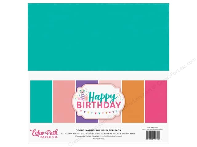 Echo Park Happy Birthday Girls Paper Pack Solid 12 in. x 12 in.
