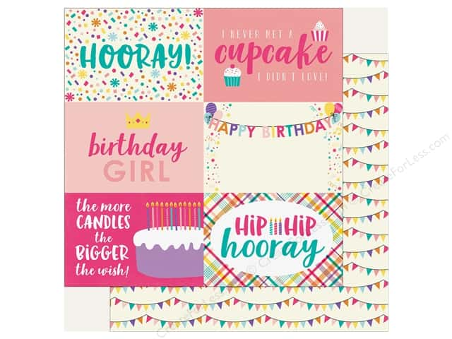 "Echo Park Happy Birthday Girls Paper 12 in. x 12 in. Journaling Cards 4""x 6"" (25 pieces)"