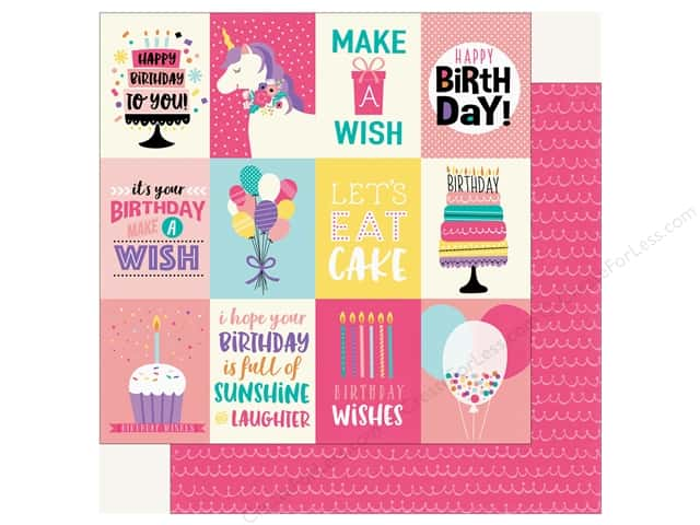 Echo Park Happy Birthday Girls Paper 12 in. x 12 in. Journaling Cards 3 in. x 4 in. (25 pieces)