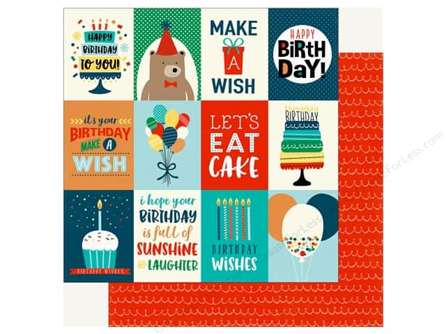 Echo Park Happy Birthday Boy Paper 12 in. x 12 in. Journaling Cards 3 in. x 4 in. (25 pieces)