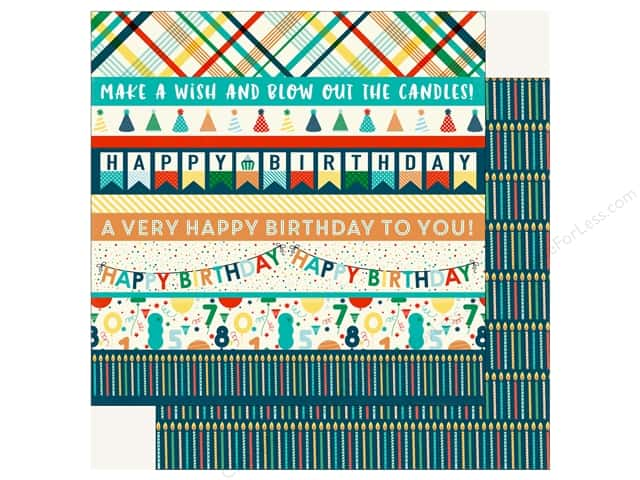 Echo Park Happy Birthday Boy Paper 12 in. x 12 in.  Border Strips (25 pieces)