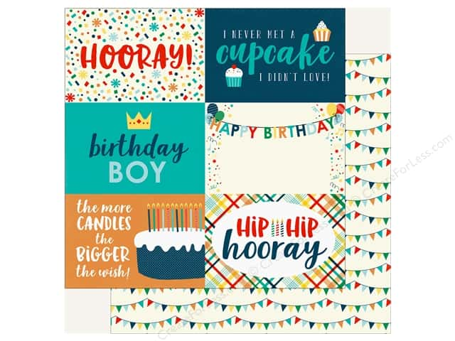 "Echo Park Happy Birthday Boy Paper 12""x 12"" Journaling Cards 4""x 6"" (25 pieces)"