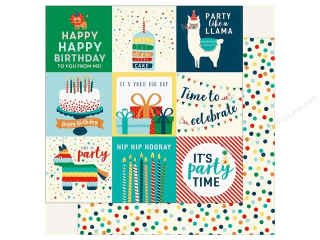 Echo Park Happy Birthday Boy Paper 12 in. x 12 in. Journaling Cards 4 in. x 4 in. (25 pieces)