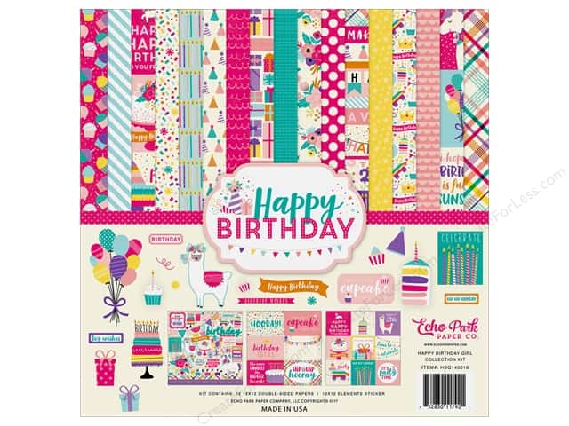 Echo Park Happy Birthday Girls Collection Kit 12 in. x 12 in.