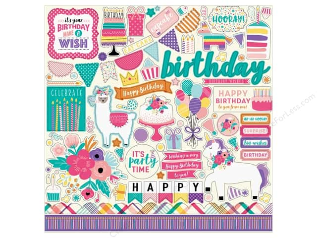 Echo Park Happy Birthday Girls Sticker 12 in. x 12 in. Element (15 pieces)