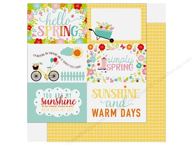 Echo Park Hello Spring Paper 12 in. x 12 in. Journaling Cards 4 in. x 6 in. (25 pieces)