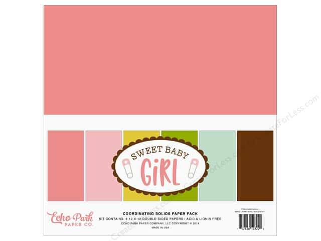 Echo Park Sweet Baby Girl Paper Pack  12 in. x 12 in. Solids