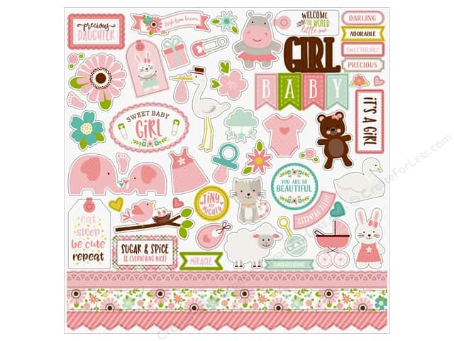 Echo Park Sweet Baby Girl Sticker 12 in. x 12 in. Elements (15 pieces)