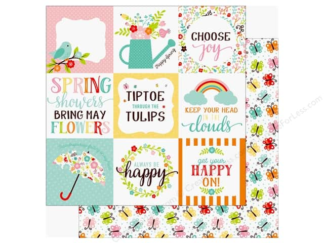 Echo Park Hello Spring Paper 12 in. x 12 in. Journaling Cards 4 in. x 4 in. (25 pieces)