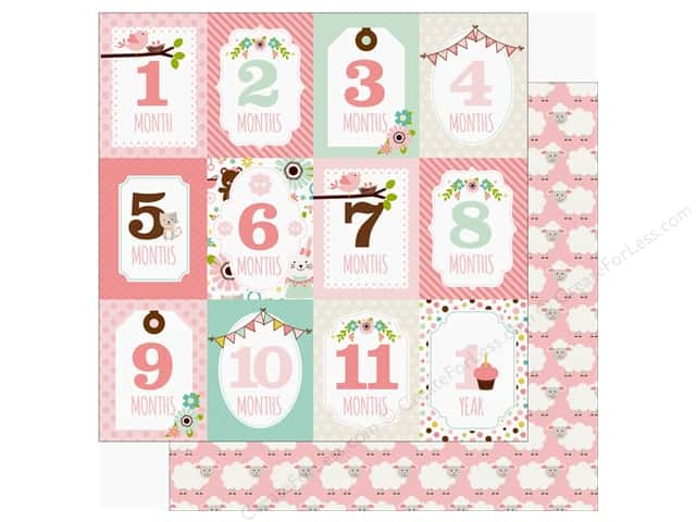 Echo Park Sweet Baby Girl Paper  12 in. x 12 in. Month Cards (25 pieces)