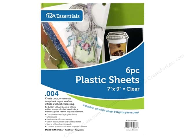 "Paper Accents Plastic Sheet 7 in. x 9 in.  004"" Clear 6 pc"