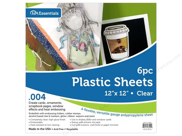 "Paper Accents Plastic Sheet 12 in. x 12 in.  .004"" Clear 6 pc"
