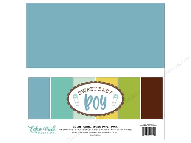 Echo Park Collection Sweet Baby Boy Solids Kit  12 in. x 12 in.