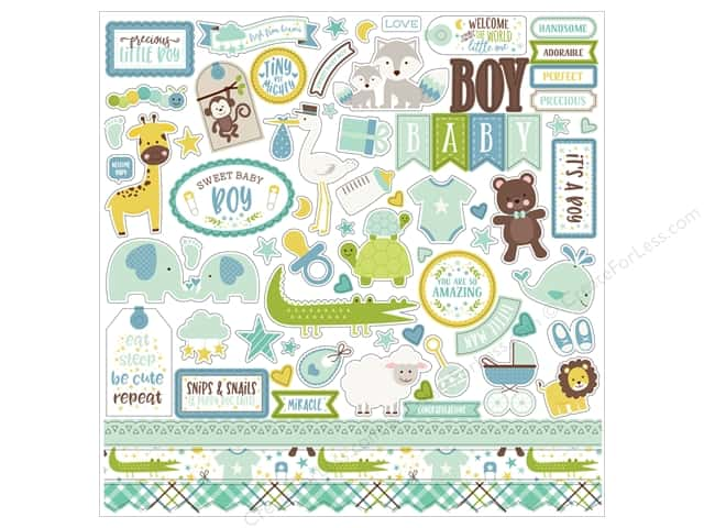 Echo Park Collection Sweet Baby Boy Sticker  12 in. x 12 in. Elements (15 pieces)