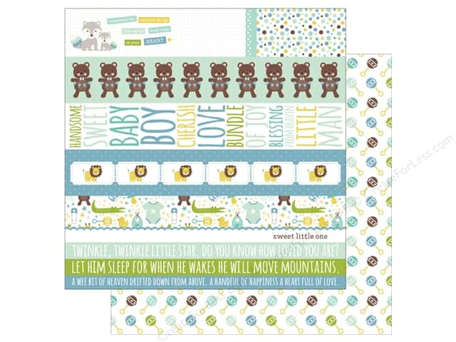 Echo Park Collection Sweet Baby Boy Paper  12 in. x 12 in. Border Strips (25 pieces)