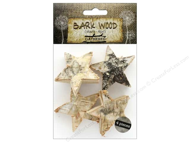 BCI Crafts Bark Shapes Stars 4 pc