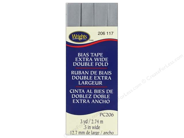 Wrights Extra Wide Double Fold Bias 3 yd Medium Gray