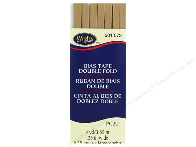 Wrights Double Fold Bias Tape 4 yd. Tan