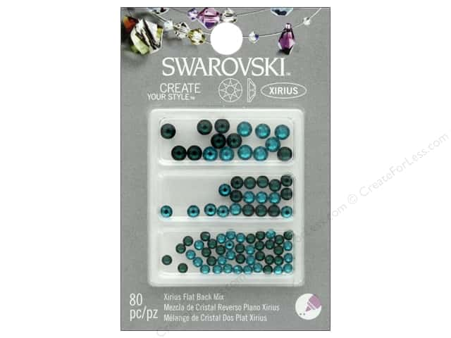 Cousin Swarovski Flatback Mix Emerald Blue Zircon 80 pc