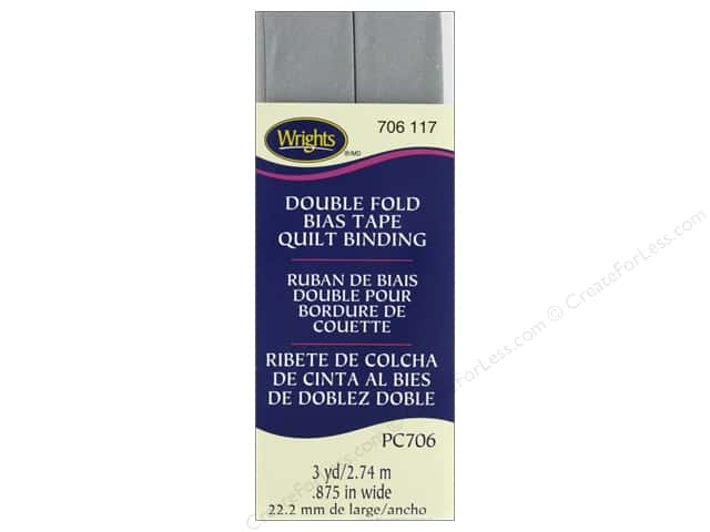 Wrights Double Fold Quilt Binding - Medium Gray 3 yd.