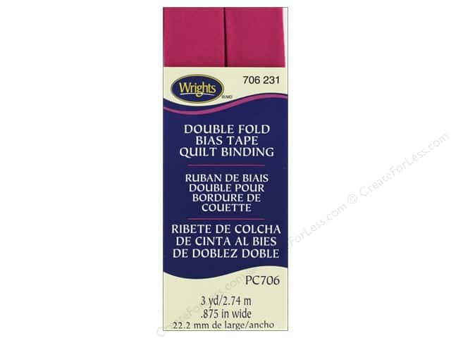 Wrights Quilt Binding Double Fold 3 yd Hot Magenta