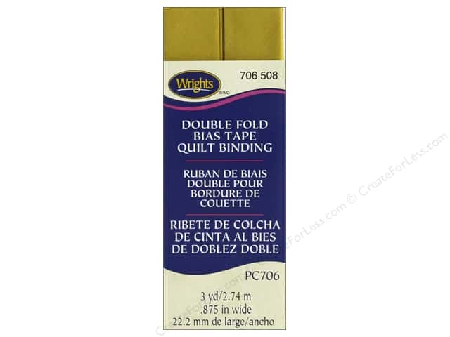 Wrights Quilt Binding Double Fold 3 yd Mustard