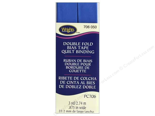 Wrights Quilt Binding Double Fold 3 yd Royal