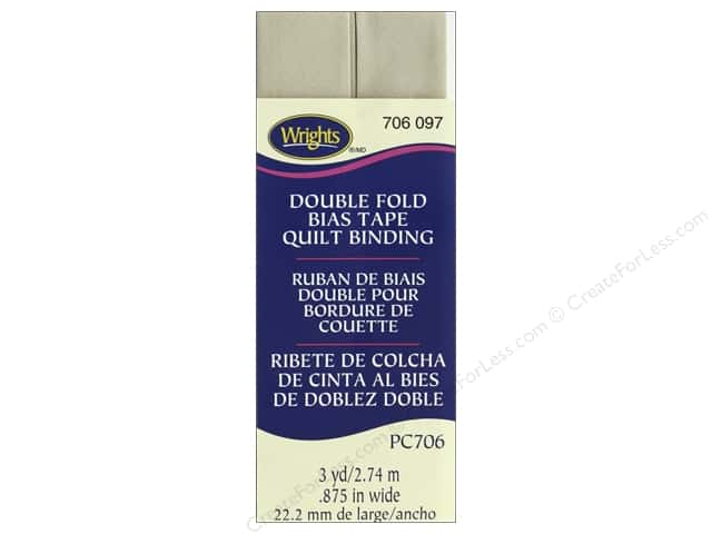 Wrights Quilt Binding Double Fold 3 yd Khaki