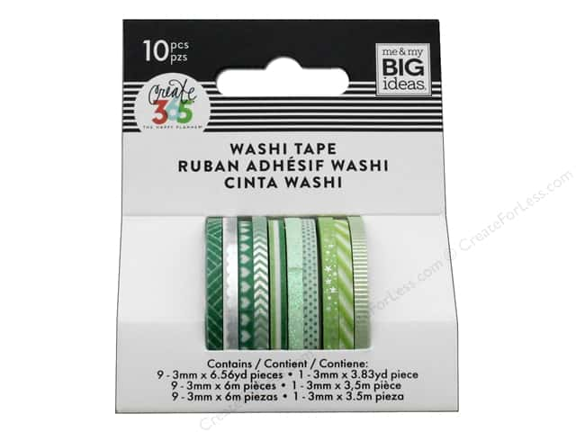 Me&My Big Ideas Collection Create 365 Happy Planner Washi Tape Mini Green Hues