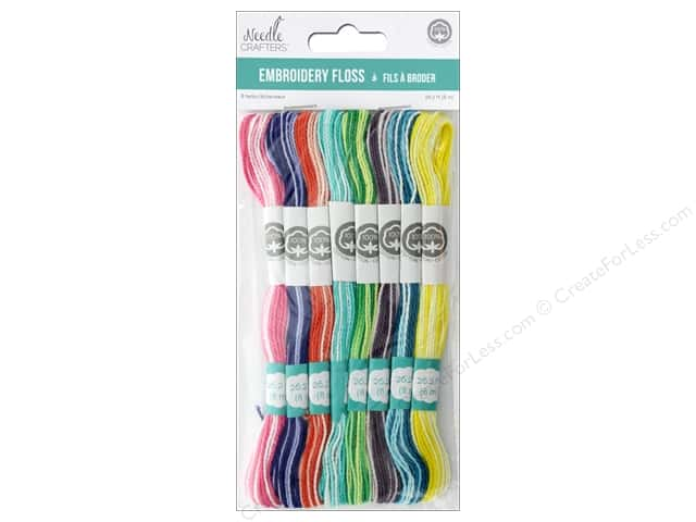 MultiCraft Cord Needlecrafter Embroidery Floss Cord 2 Strand Variegated Brights
