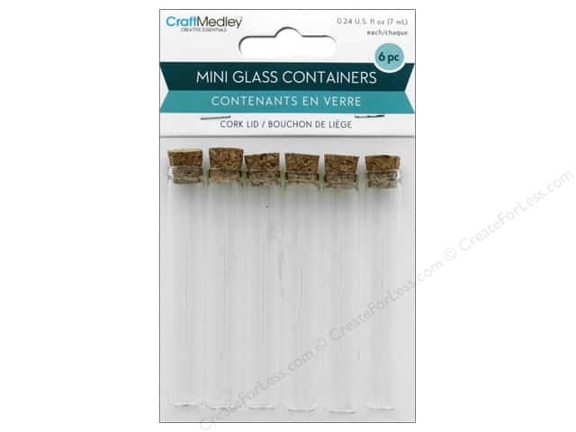 Multicraft Organizer Glass Vial Mini With Cork Lid .24 oz 6 pc