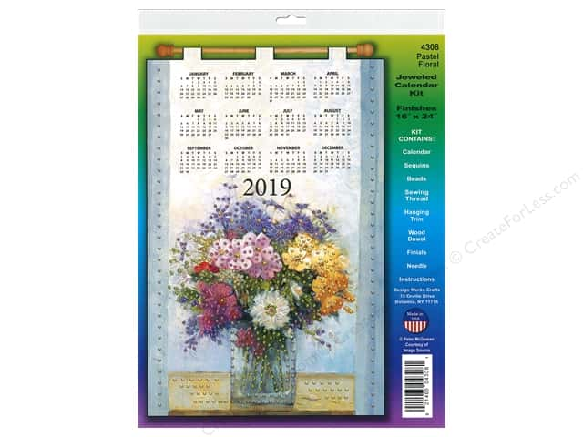 Design Works Kit Sequin Calendar 2019 Pastel Floral