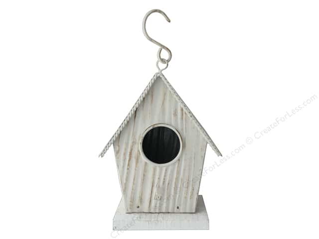 Darice Wood Birdhouse On Stand 4.5 in. x 3.25 in. x 5.5 in. White