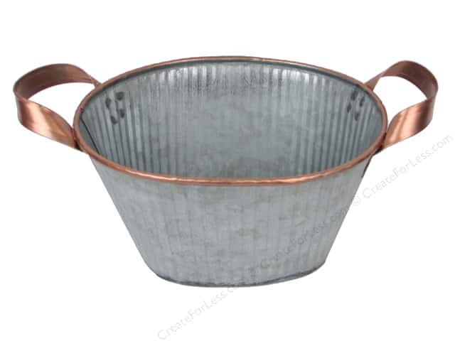 Darice Planter Oval Tin 6.25 in. x 5.25 in. x 3.5 in. Galvanized