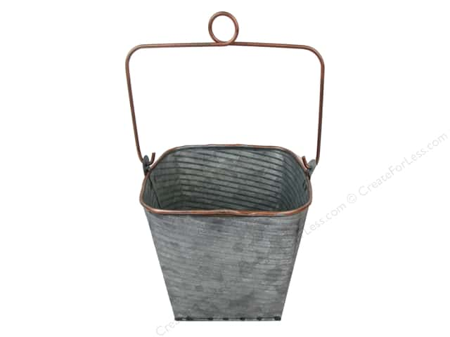 Darice Planter Square Tin 5 in. x 5.5 in. x 5.25 in. Galvanized