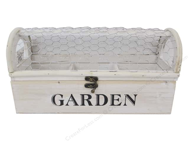 Darice Planter With Chicken Wire 13 in. x 4.25 in. x 6.75 in. White