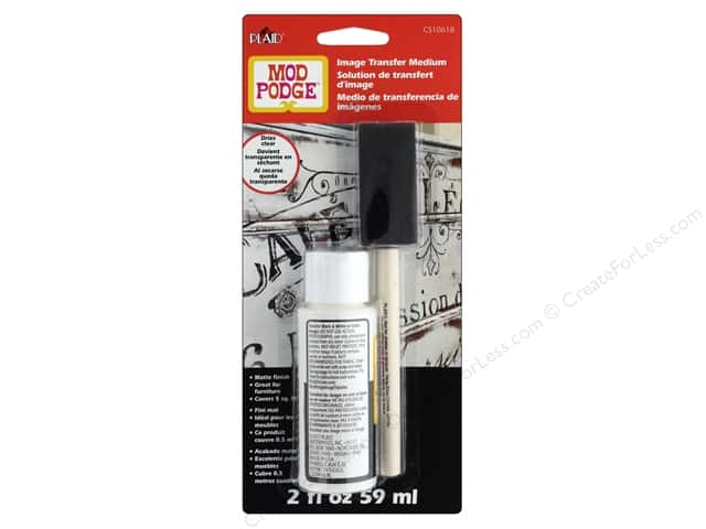 Plaid Mod Podge Image Transfer Medium With Brush Clear 2 oz