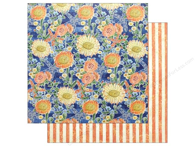 """Graphic 45 Collection Sun Kissed 12""""x 12"""" Floating Floral (25 pieces)"""