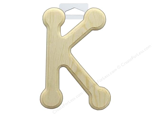 Multicraft Wood Letter Bevel Cut 6 in. Natural K