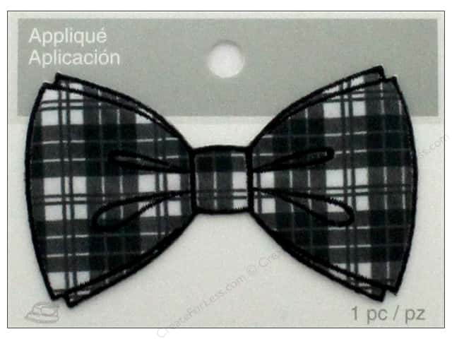 Simplicity Applique Iron On Bowtie Plaid Black/White