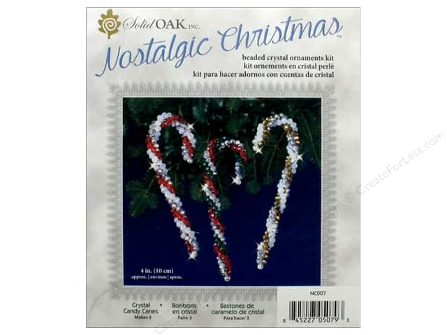 Solid Oak Kit Beaded Ornament Crystal Candy Canes