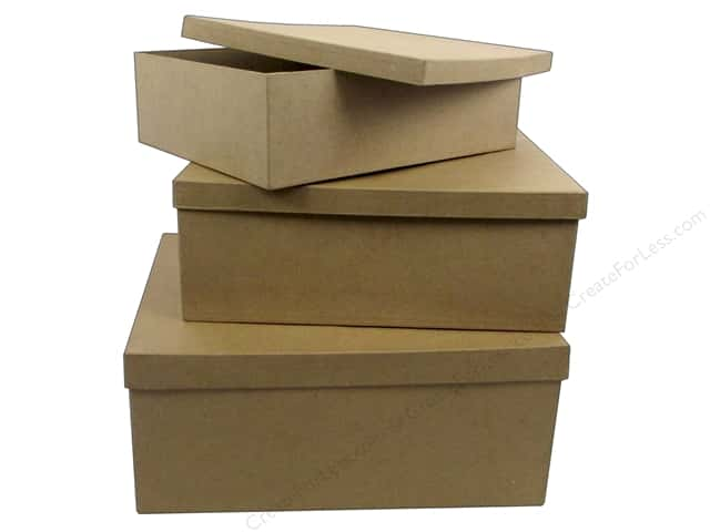 PA Paper Mache Large Rectangle Box Set of 3 (6 sets)