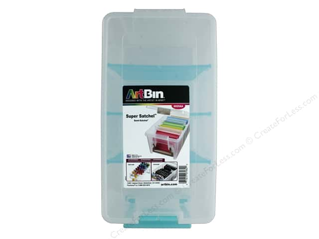 ArtBin Super Satchel Semi Divided Clear with Aqua Dividers