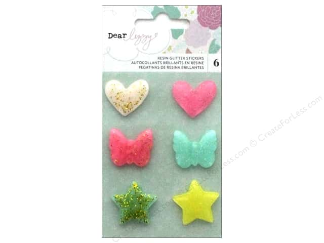 American Crafts Collection Dear Lizzy Stay Colorful Sticker Resin Shape Glitter
